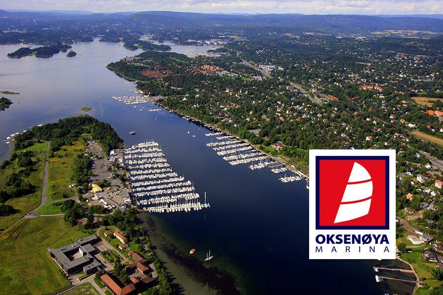 Oksenøya Marina i Oslofjorden - flyfoto