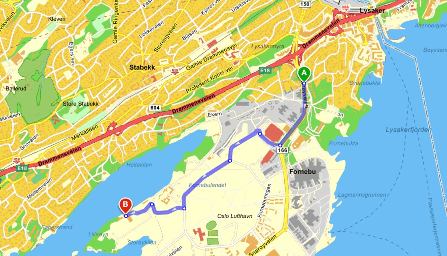 Kart over Oslo oppmerket